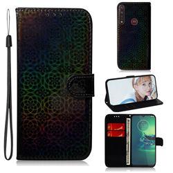Laser Circle Shining Leather Wallet Phone Case for Motorola Moto G8 Plus - Black