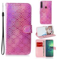 Laser Circle Shining Leather Wallet Phone Case for Motorola Moto G8 Plus - Pink
