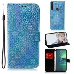 Laser Circle Shining Leather Wallet Phone Case for Motorola Moto G8 Plus - Blue