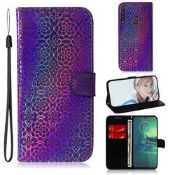 Laser Circle Shining Leather Wallet Phone Case for Motorola Moto G8 Plus - Purple
