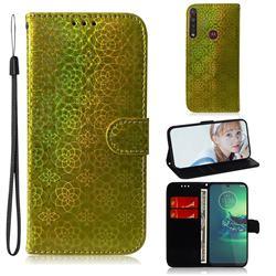 Laser Circle Shining Leather Wallet Phone Case for Motorola Moto G8 Plus - Golden