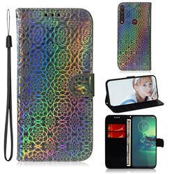 Laser Circle Shining Leather Wallet Phone Case for Motorola Moto G8 Plus - Silver