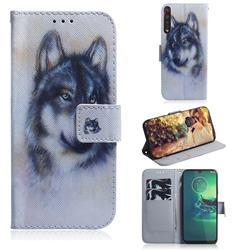 Snow Wolf PU Leather Wallet Case for Motorola Moto G8 Plus