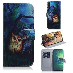 Oil Painting Owl PU Leather Wallet Case for Motorola Moto G8 Plus