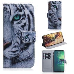 White Tiger PU Leather Wallet Case for Motorola Moto G8 Plus