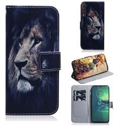 Lion Face PU Leather Wallet Case for Motorola Moto G8 Plus
