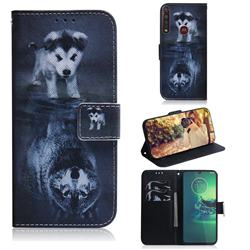Wolf and Dog PU Leather Wallet Case for Motorola Moto G8 Plus