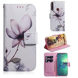 Magnolia Flower PU Leather Wallet Case for Motorola Moto G8 Plus
