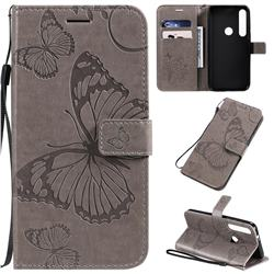 Embossing 3D Butterfly Leather Wallet Case for Motorola Moto G8 Plus - Gray