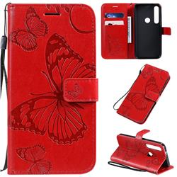 Embossing 3D Butterfly Leather Wallet Case for Motorola Moto G8 Plus - Red