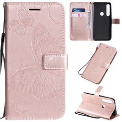Embossing 3D Butterfly Leather Wallet Case for Motorola Moto G8 Plus - Rose Gold