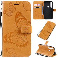 Embossing 3D Butterfly Leather Wallet Case for Motorola Moto G8 Plus - Yellow