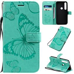 Embossing 3D Butterfly Leather Wallet Case for Motorola Moto G8 Plus - Green