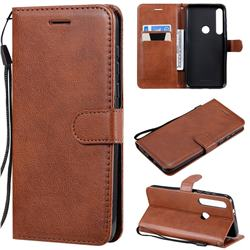 Retro Greek Classic Smooth PU Leather Wallet Phone Case for Motorola Moto G8 Plus - Brown