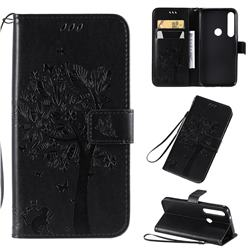 Embossing Butterfly Tree Leather Wallet Case for Motorola Moto G8 Plus - Black