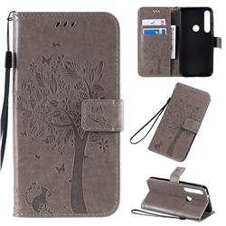 Embossing Butterfly Tree Leather Wallet Case for Motorola Moto G8 Plus - Grey