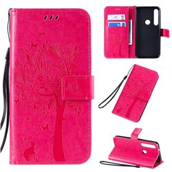 Embossing Butterfly Tree Leather Wallet Case for Motorola Moto G8 Plus - Rose
