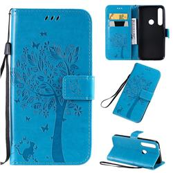 Embossing Butterfly Tree Leather Wallet Case for Motorola Moto G8 Plus - Blue