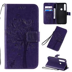 Embossing Butterfly Tree Leather Wallet Case for Motorola Moto G8 Plus - Purple