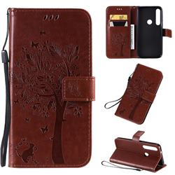 Embossing Butterfly Tree Leather Wallet Case for Motorola Moto G8 Plus - Coffee