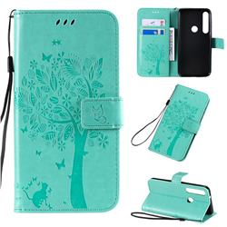Embossing Butterfly Tree Leather Wallet Case for Motorola Moto G8 Plus - Cyan