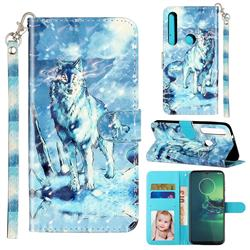 Snow Wolf 3D Leather Phone Holster Wallet Case for Motorola Moto G8 Plus