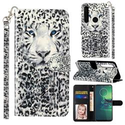 White Leopard 3D Leather Phone Holster Wallet Case for Motorola Moto G8 Plus