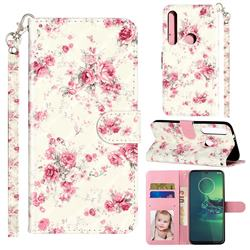 Rambler Rose Flower 3D Leather Phone Holster Wallet Case for Motorola Moto G8 Plus