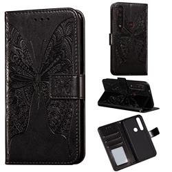 Intricate Embossing Vivid Butterfly Leather Wallet Case for Motorola Moto G8 Plus - Black