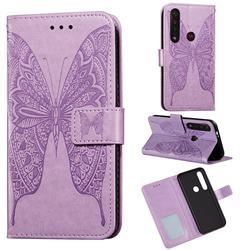 Intricate Embossing Vivid Butterfly Leather Wallet Case for Motorola Moto G8 Plus - Purple