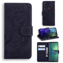 Intricate Embossing Tiger Face Leather Wallet Case for Motorola Moto G8 Plus - Black