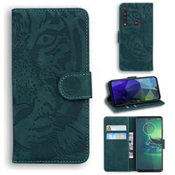 Intricate Embossing Tiger Face Leather Wallet Case for Motorola Moto G8 Plus - Green