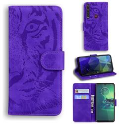 Intricate Embossing Tiger Face Leather Wallet Case for Motorola Moto G8 Plus - Purple