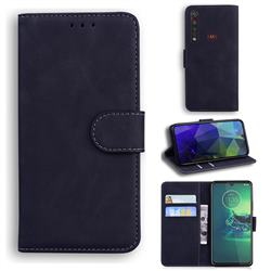 Retro Classic Skin Feel Leather Wallet Phone Case for Motorola Moto G8 Plus - Black
