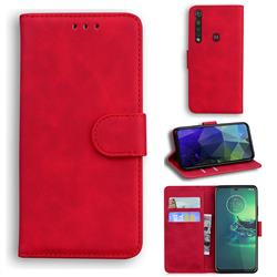 Retro Classic Skin Feel Leather Wallet Phone Case for Motorola Moto G8 Plus - Red