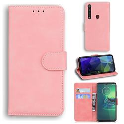 Retro Classic Skin Feel Leather Wallet Phone Case for Motorola Moto G8 Plus - Pink