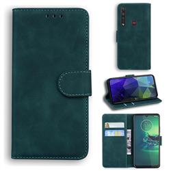 Retro Classic Skin Feel Leather Wallet Phone Case for Motorola Moto G8 Plus - Green