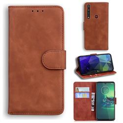 Retro Classic Skin Feel Leather Wallet Phone Case for Motorola Moto G8 Plus - Brown