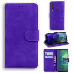 Retro Classic Skin Feel Leather Wallet Phone Case for Motorola Moto G8 Plus - Purple