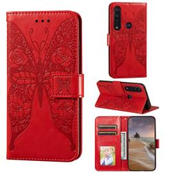 Intricate Embossing Rose Flower Butterfly Leather Wallet Case for Motorola Moto G8 Plus - Red