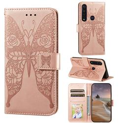 Intricate Embossing Rose Flower Butterfly Leather Wallet Case for Motorola Moto G8 Plus - Rose Gold