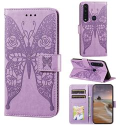 Intricate Embossing Rose Flower Butterfly Leather Wallet Case for Motorola Moto G8 Plus - Purple