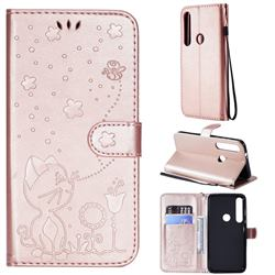 Embossing Bee and Cat Leather Wallet Case for Motorola Moto G8 Plus - Rose Gold