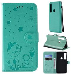 Embossing Bee and Cat Leather Wallet Case for Motorola Moto G8 Plus - Green