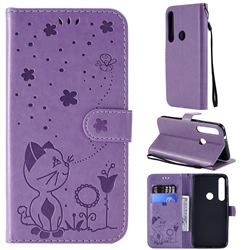Embossing Bee and Cat Leather Wallet Case for Motorola Moto G8 Plus - Purple