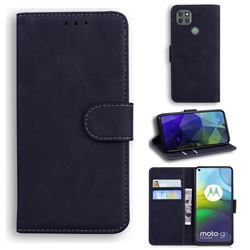 Retro Classic Skin Feel Leather Wallet Phone Case for Motorola Moto G9 Power - Black