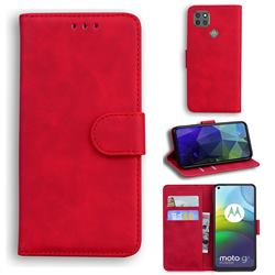 Retro Classic Skin Feel Leather Wallet Phone Case for Motorola Moto G9 Power - Red