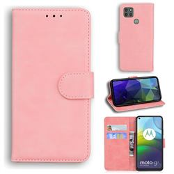 Retro Classic Skin Feel Leather Wallet Phone Case for Motorola Moto G9 Power - Pink
