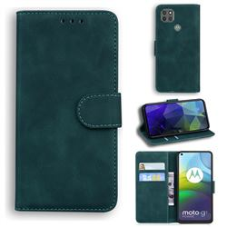 Retro Classic Skin Feel Leather Wallet Phone Case for Motorola Moto G9 Power - Green