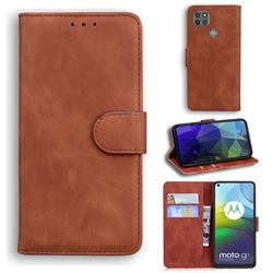 Retro Classic Skin Feel Leather Wallet Phone Case for Motorola Moto G9 Power - Brown